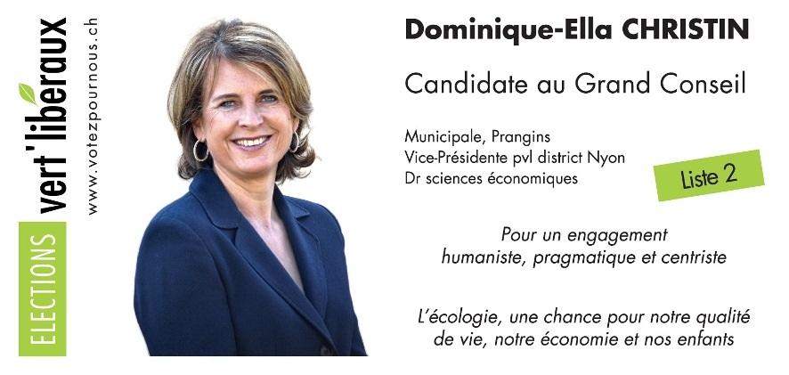 Dominique-Ella Christin vert'libéraux Candidate au Grand Conseil Mars 2012