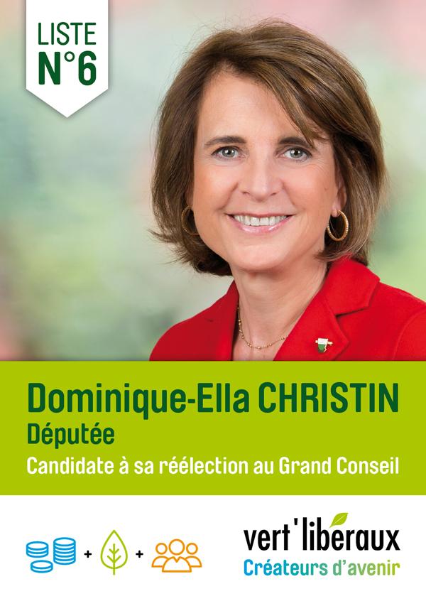 Dominique-Ella Christin vert'libéraux Candidate à sa réélection au Grand Conseil Avril 2017 width=